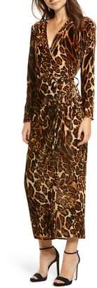 WAYF Gwyneth Velvet Wrap Midi Dress
