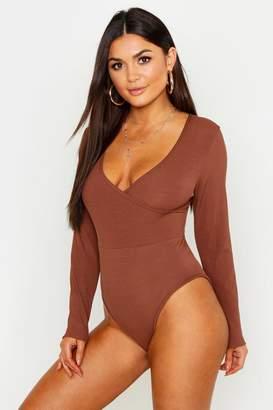 boohoo Basic Wrap Front Long Sleeve Bodysuit