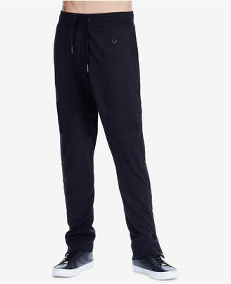 True Religion Men's Fleece Pants with Snap-Button Sides