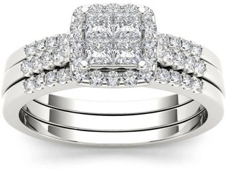 Imperial Diamond Imperial 3/4 Carat T.W. Diamond Single Halo 14kt White Gold Engagement Ring Set