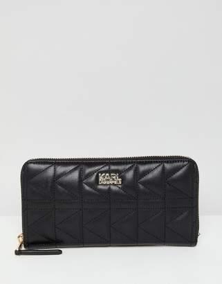 Karl Lagerfeld quilted zip around wallet