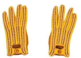 Prada Knit Leather Gloves