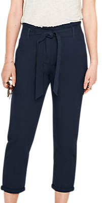 Oasis Frill Peg Trousers, Navy