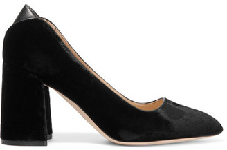Sam Edelman - Kassidy Leather-trimmed Velvet Pumps - Black $150 thestylecure.com