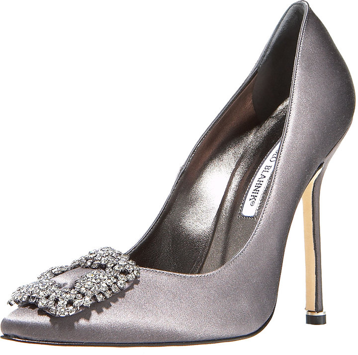 Manolo Blahnik Jeweled Satin Pump