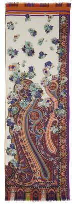 Etro Floral Paisley Wool & Silk Scarf