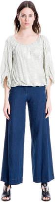 Max Studio indigo linen wide-leg trousers
