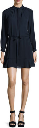 Rebecca Taylor Long-Sleeve Georgette Shirtdress, Navy $225 thestylecure.com