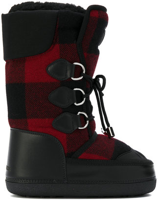checked snow boots
