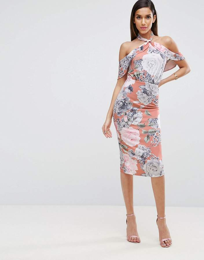 Asos ASOS Floral Twist Neck Ruffle Top Soft Pencil Dress
