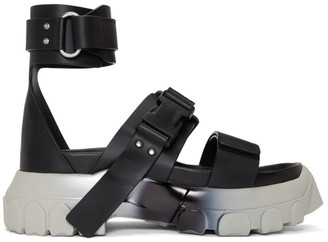 Rick Owens Black and Silver Ankle Strap Tractor Sandals