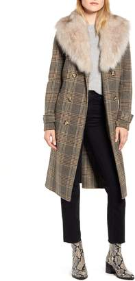 Kenneth Cole New York Plaid Wool Blend Coat with Removable Faux Fur Collar