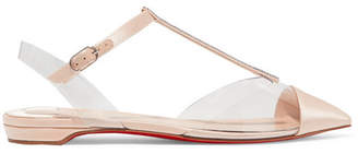 Christian Louboutin Nosy Crystal-embellished Satin And Pvc Point-toe Flats - Neutral