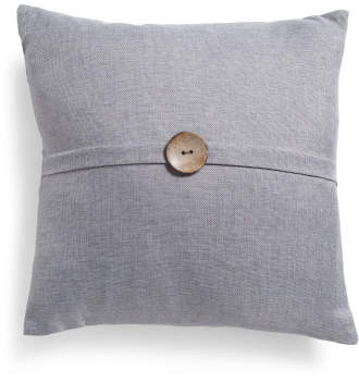 20x20 Faux Linen Button Pillow
