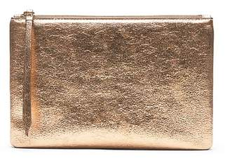Banana Republic Metallic Vegan Leather Medium Zip Pouch