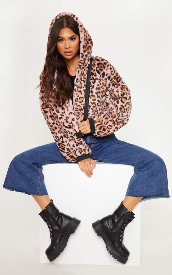 Pink Leopard Faux Fur Hooded Jacket
