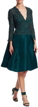 Monique Lhuillier Lace & Faille Dress