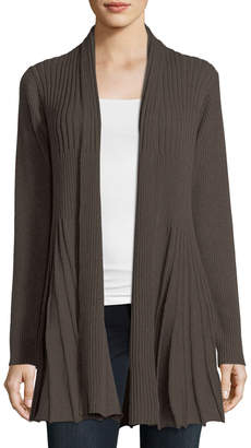 Neiman Marcus Vertical-Rib Pleated Open-Front Cardigan