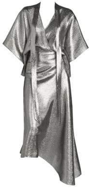 Roland Mouret Women's Metallic Chevron Cocktail Dress - Silver - Size UK 16 (12)