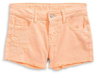 MANGUUN Girl's Embroidered Denim Shorts