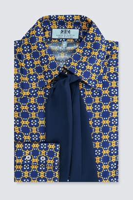 Next Womens Hawes & Curtis Yellow And Blue Tile Print Shirt With Contrast Tie