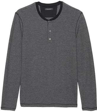 Banana Republic Cotton-Modal Waffle-Knit Long-Sleeve Henley T-Shirt