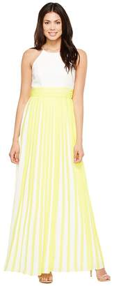 Aidan Mattox Halter Pleated Chiffon Dress Women's Skirt
