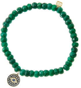 Sydney Evan 6mm Faceted Emerald Beaded Bracelet with 14k Gold/Rhodium Diamond Small Evil Eye Charm (Made to Order)