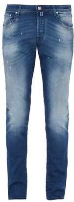 Jacob Cohen Distressed Mid Rise Slim Leg Jeans - Mens - Blue