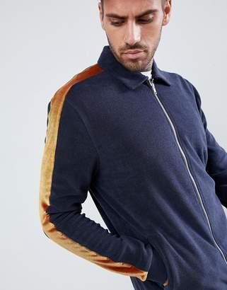 Asos DESIGN harrington jacket in towelling and velour side stripe