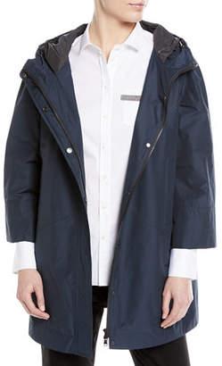 Brunello Cucinelli Hooded Taffeta Mid-Length Coat