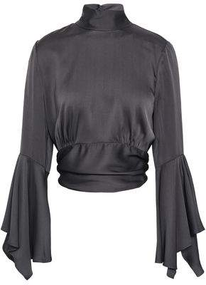 Milly Open-back Fluted Silk-blend Satin Blouse