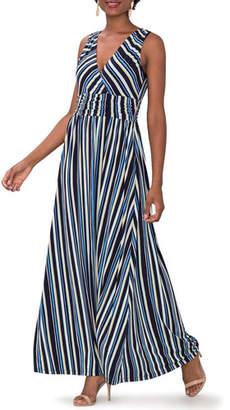 Leota Athena Striped Sleeveless Maxi Dress