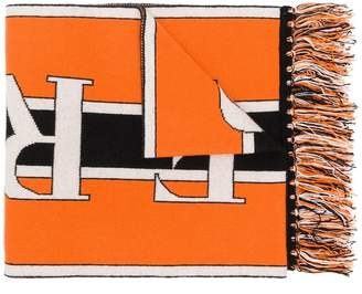Burberry fringed logo scarf