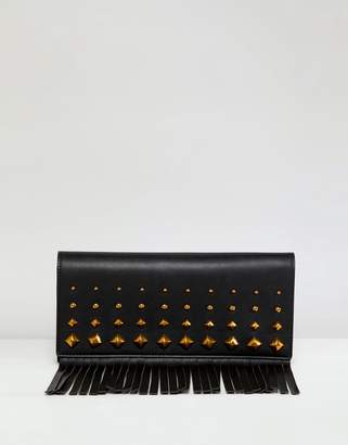 Asos Design DESIGN clutch bag with stud fringe detail