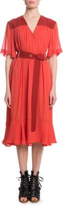 Chloé Short-Sleeve V-Neck Mousseline Mid-Calf Dress w/ Self Belt