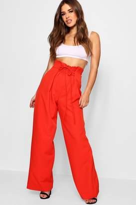 boohoo Petite Lace Up Wide Leg Trouser