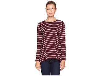 Bobeau Long Sleeve Stripe High-Low Inverted Pleat Women's Clothing
