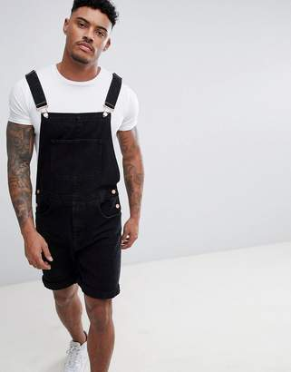 Asos DESIGN short overalls in black