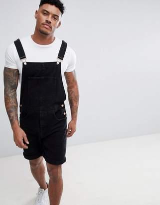 Asos Design DESIGN Short Dungarees in Black