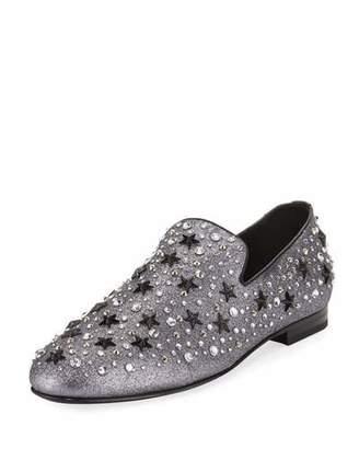 Jimmy Choo Men's Star & Crystal Studded Glitter Slipper $1,350 thestylecure.com