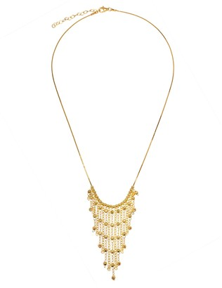 Italian Silver Sterling Diamond-Cut Bead Fringe Necklace