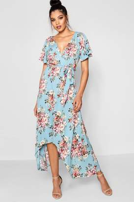 boohoo Holly Dip Hem Belted Wrap Maxi Dress