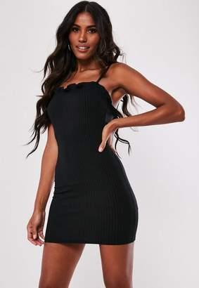 Missguided Petite Black Ribbed Frill Cami Mini Dress