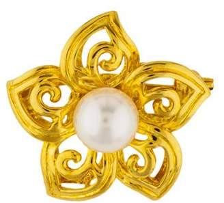 Mikimoto 18K Pearl Flower Brooch