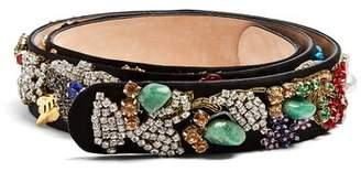 Alexander McQueen Embellished Suede Belt - Womens - Multi