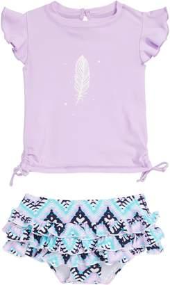 Snapper Rock Boho Two-Piece Short Sleeve Swimsuit