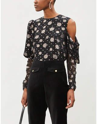 The Kooples Polka dot semi-sheer silk-blend blouse
