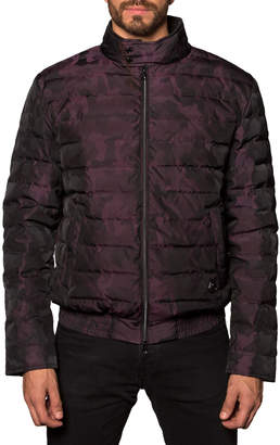 Jared Lang Men's Chicago Lightweight Camo Quilted Puffer Jacket, Burgundy