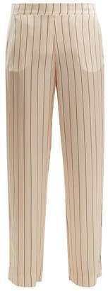 Asceno - Striped Silk Pyjama Trousers - Womens - Cream Stripe